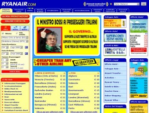 Screen shoot dal sito di Ryanair